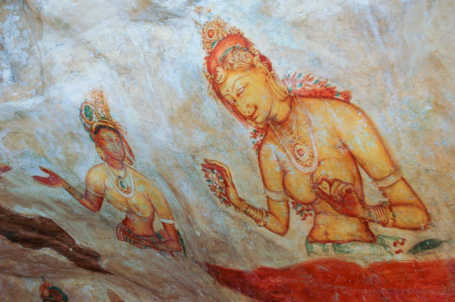 półnagie kobiety na starożytnych freskach w sigirya, na Sri Lance